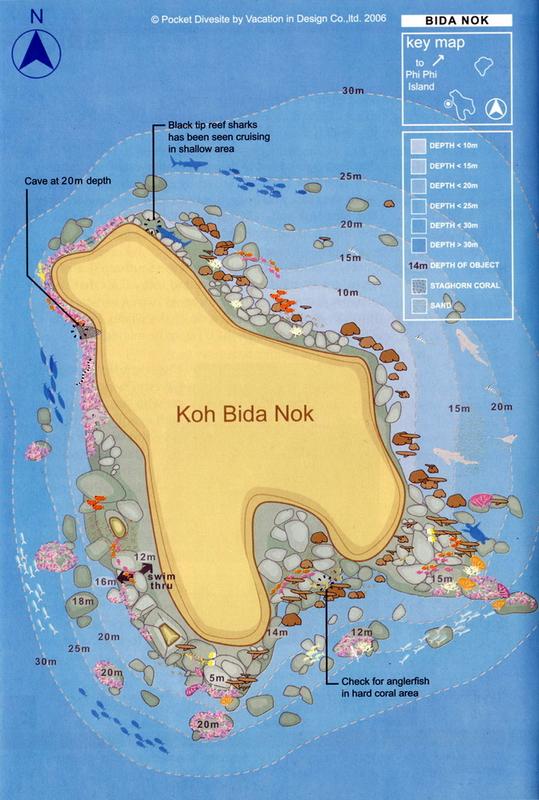 Site Map of Bida Nok Dive Site, Thailand