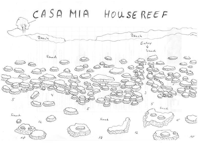 Site Map of Casa Mia House Reef Dive Site, Maldives
