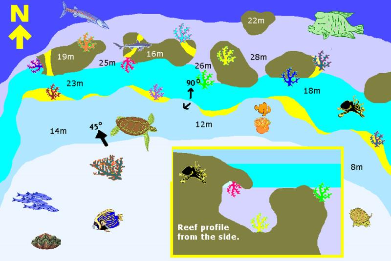 Site Map of Fares Dive Site, Maldives