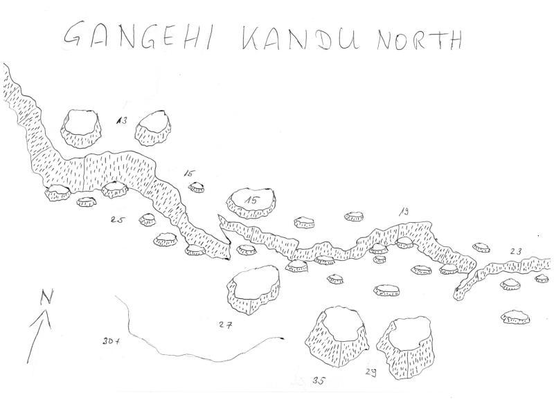 Site Map of Gangehi Kandu Dive Site, Maldives