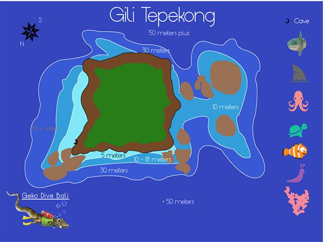 Site Map of Gili Tepekong Dive Site, Indonesia
