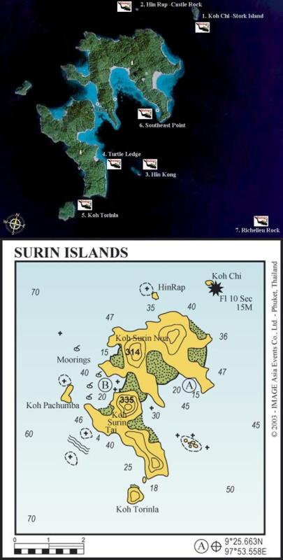 Site Map of Koh Surin Dive Site, Thailand