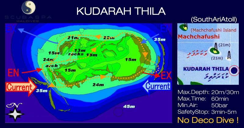 Site Map of Kudarah Thila Dive Site, Maldives