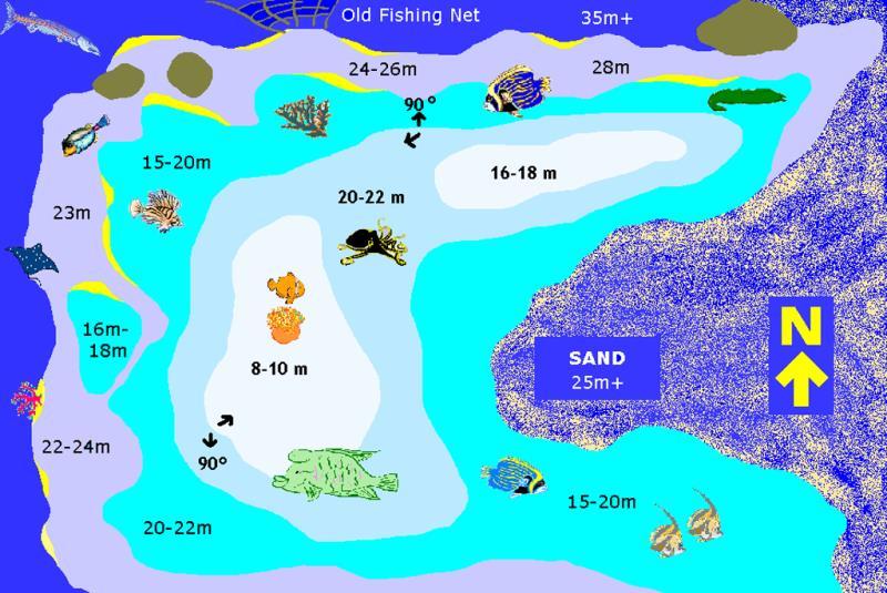 Site Map of Maavaru Bodu Thila Dive Site, Maldives