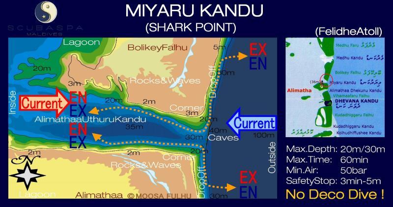Site Map of Miyaru Kandu Dive Site, Maldives