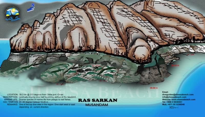 Site Map of RAS SARKAN Dive Site, Oman