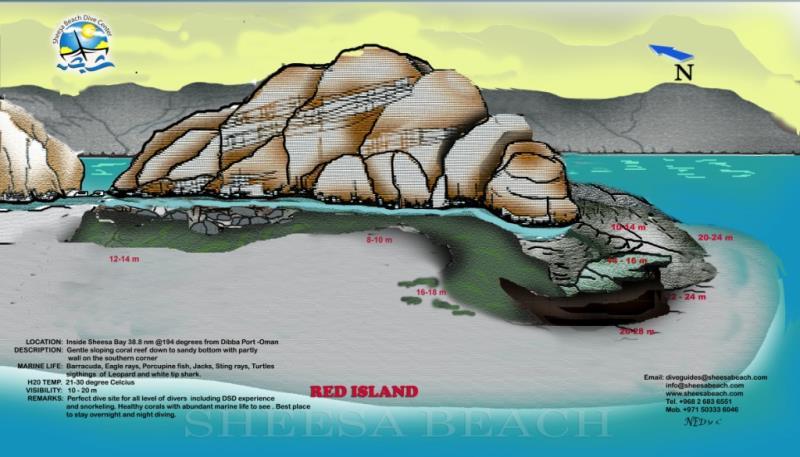 Site Map of RED ISLAND Dive Site, Oman