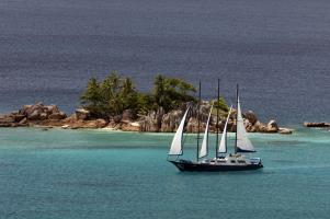 Sea Star on sail at St Pierre