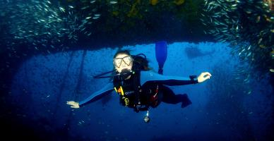 Underwater flying.
