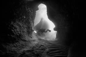 Cavern dive at Skopelos island, N. Sporades, Greece