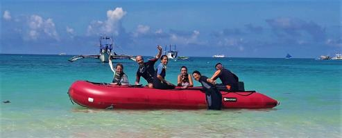 Rubber boats can be fun in the Philippines with White Beach Divers