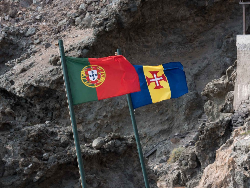 Portugal flags fly while in the Savage Islands.