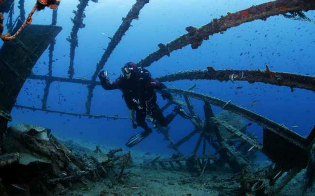 Famous Brijuni shipwreck that sunk due to a storm in 1930 as it transported wine and tobacco.