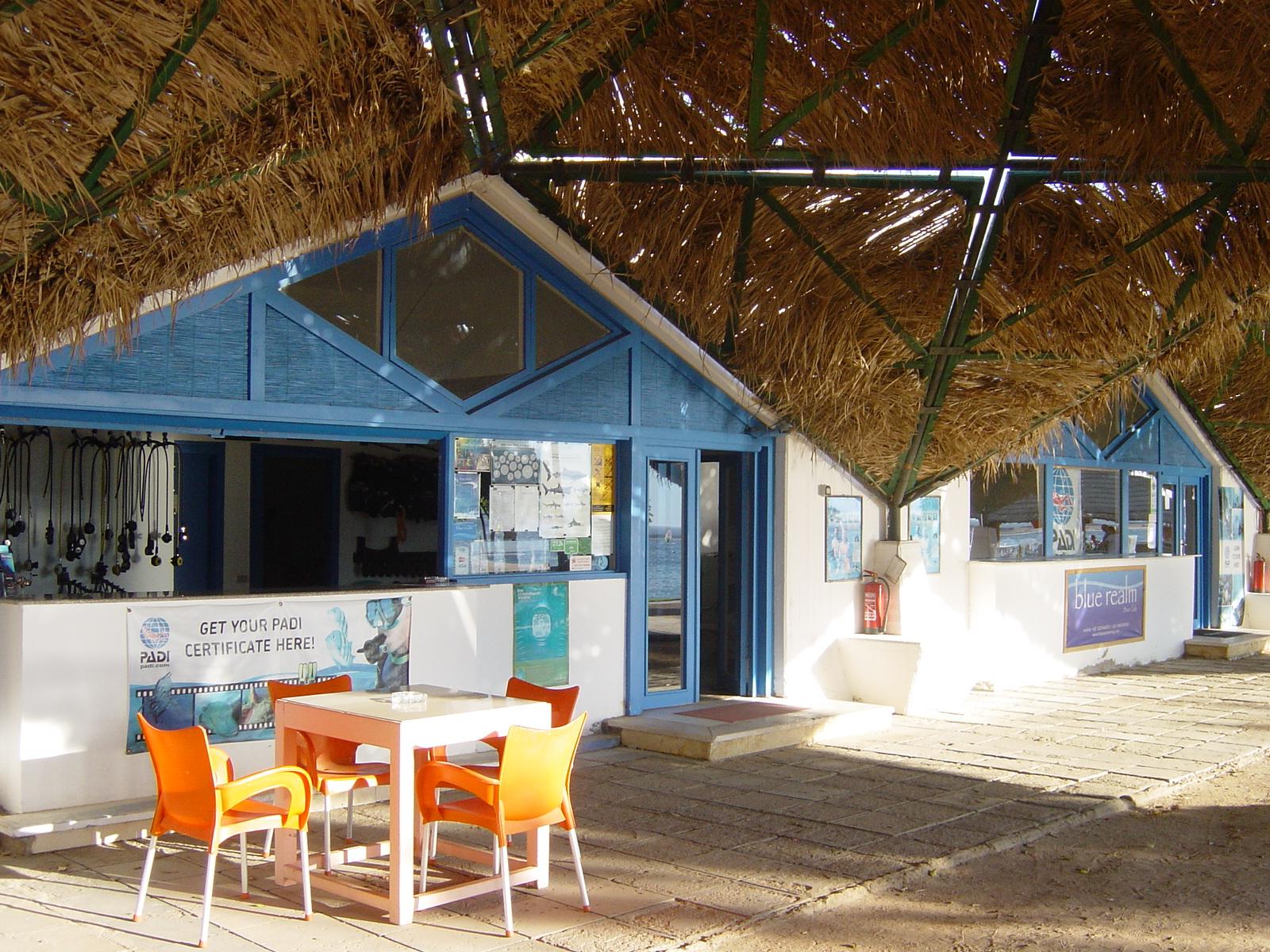 Front door at Blue Realm Diving Center based at Tirana Dahab Resort on lagona Dahab