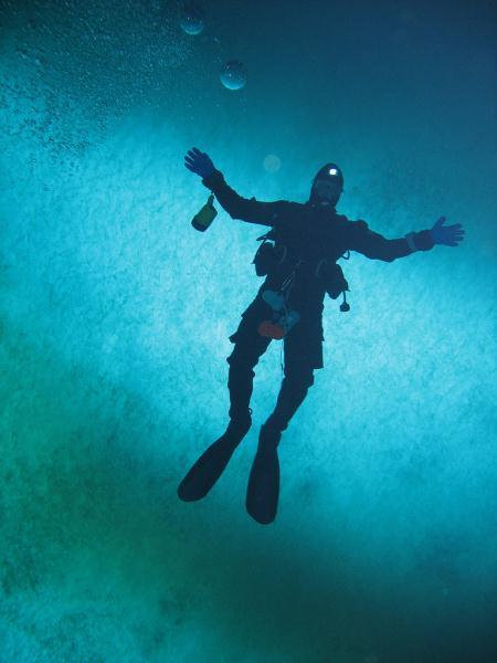 Diver under ice