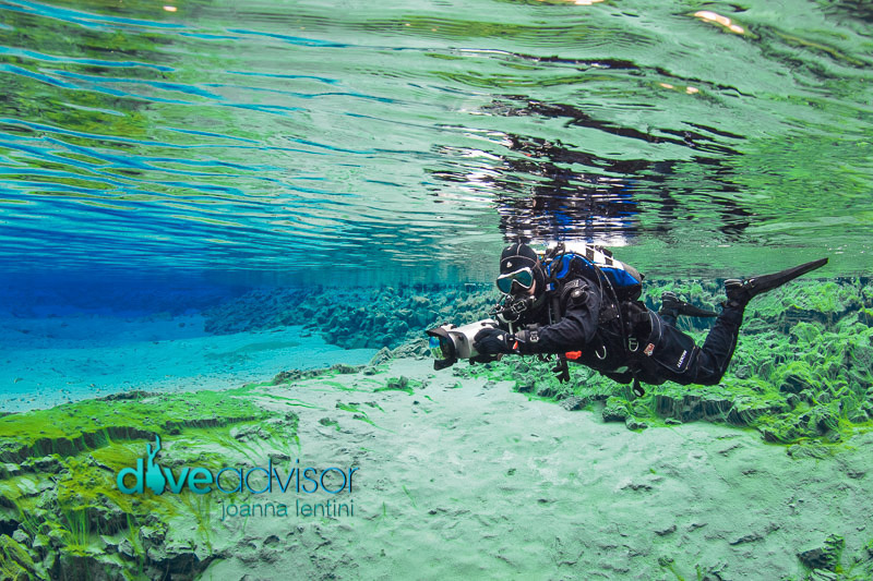 Dry Suit Diver exploring Gruner See in Austria