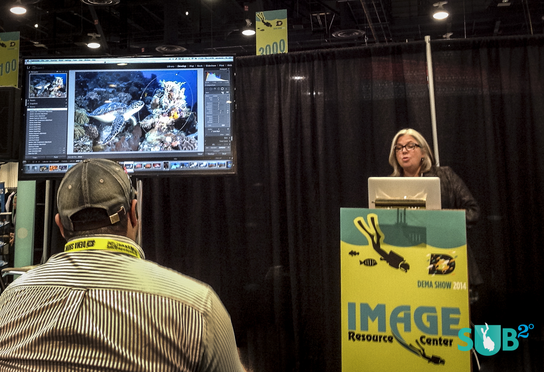 Underwater photography editing wizard, Erin Quigley, gives a talk on how to use editing programs like Adobe Lightroom to make digital underwater photographs better.
