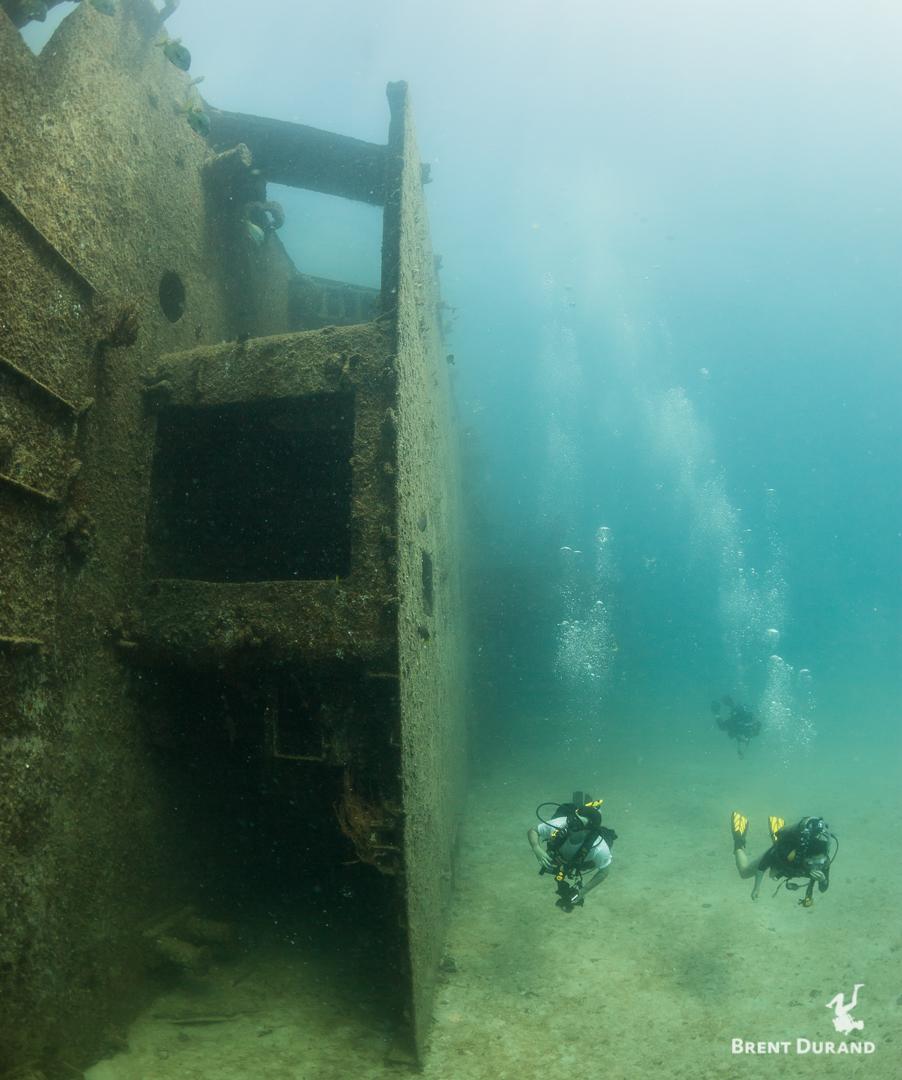 Scuba divers explore the Fang Ming shipwreck near La Paz, BCS, Mexico.