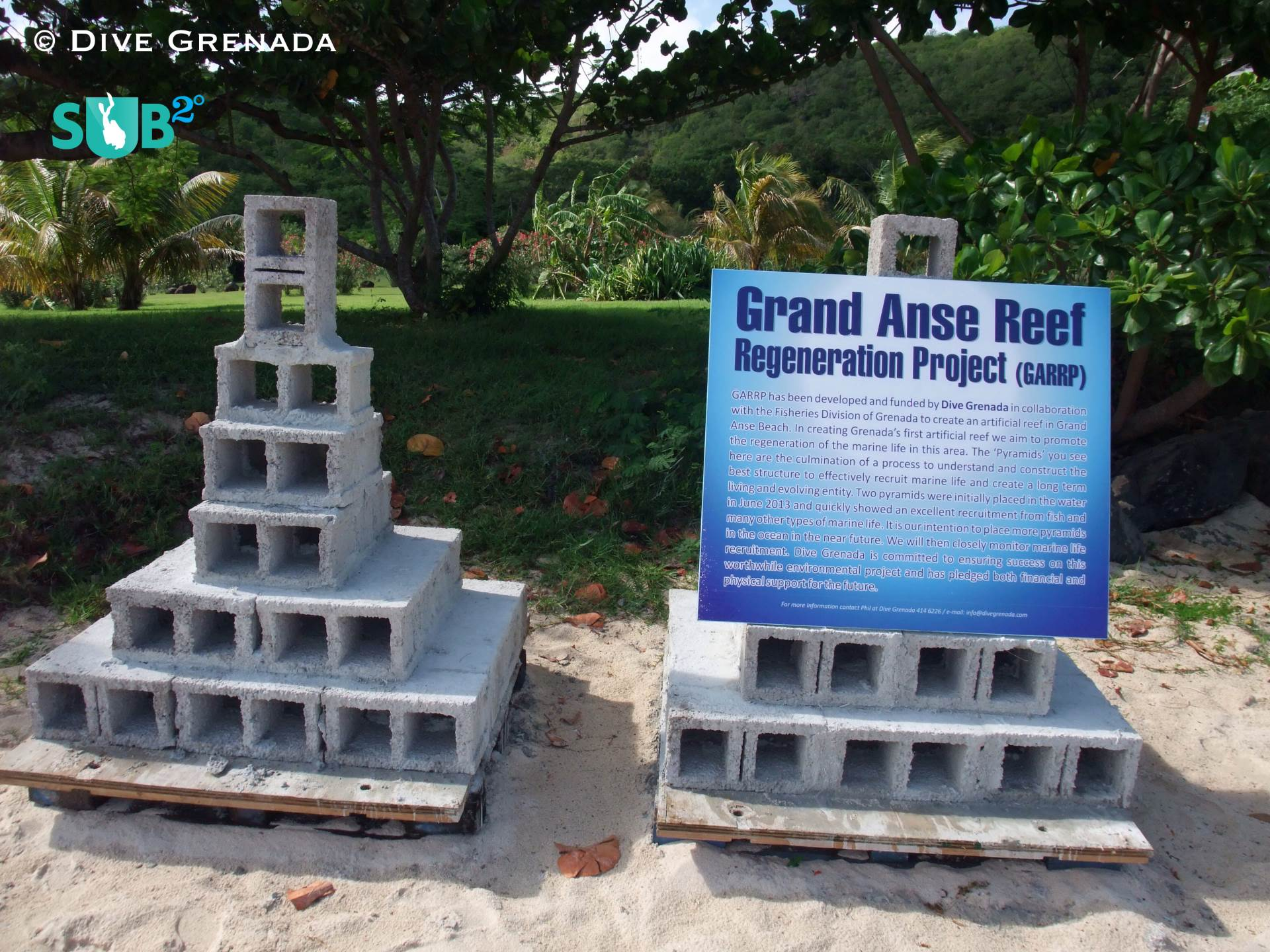 The pyramids prior to placement in Grand Anse Bay. The concrete structures are built on the beach before being floated out and carefully positioned.
