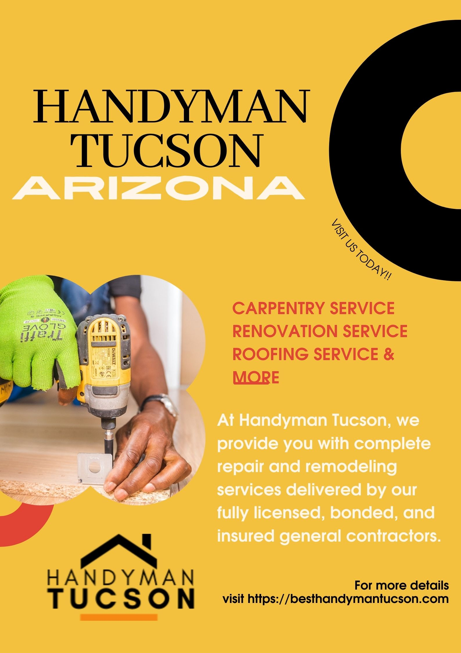At Handyman Tucson Arizona, we provide you with complete repair and remodeling services delivered by our fully licensed, bonded, and insured general contractors. We also deal with professionals from interior and exterior improvement and repair needs of your office, home, or business property. Our dedicated experts focus on giving you world-class services.