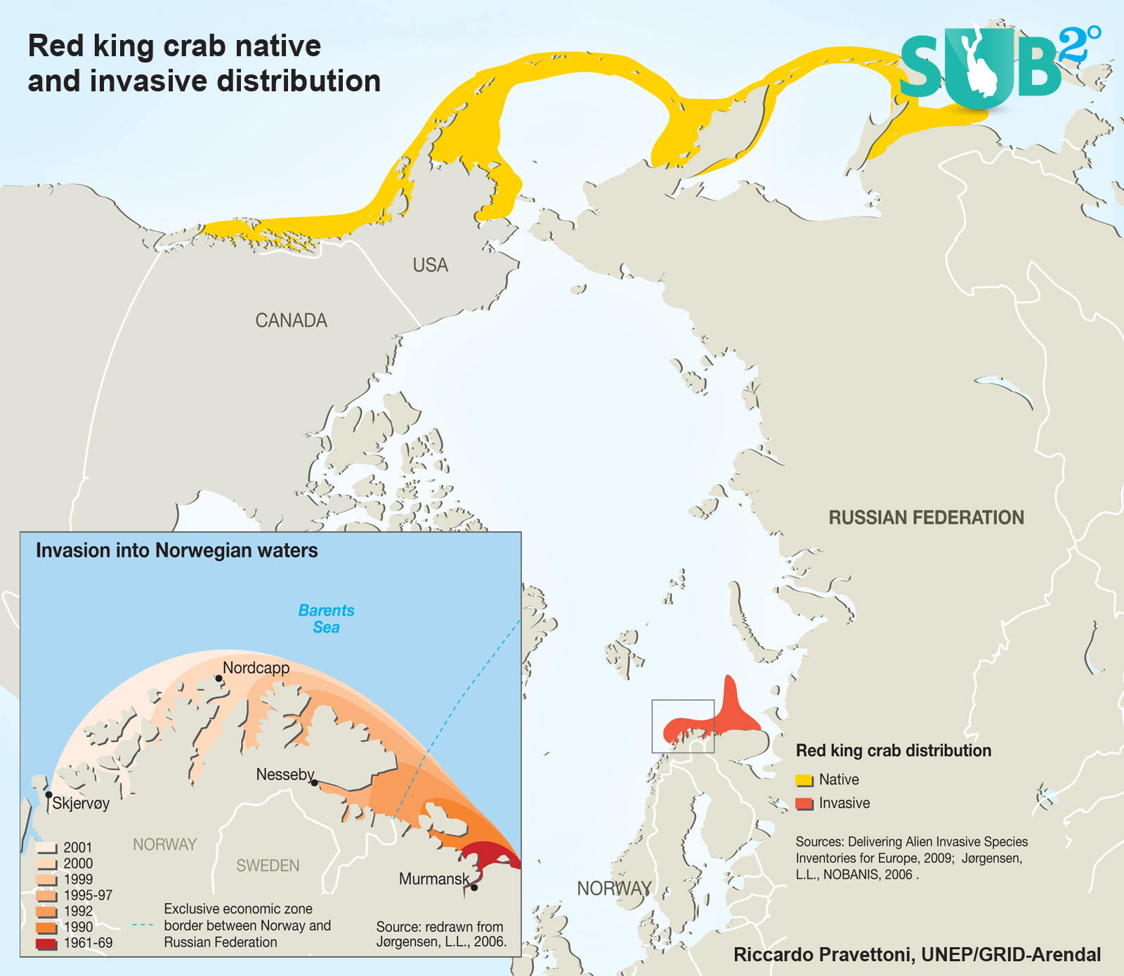 The map shows the distribution of red king crab, both native and invasive.