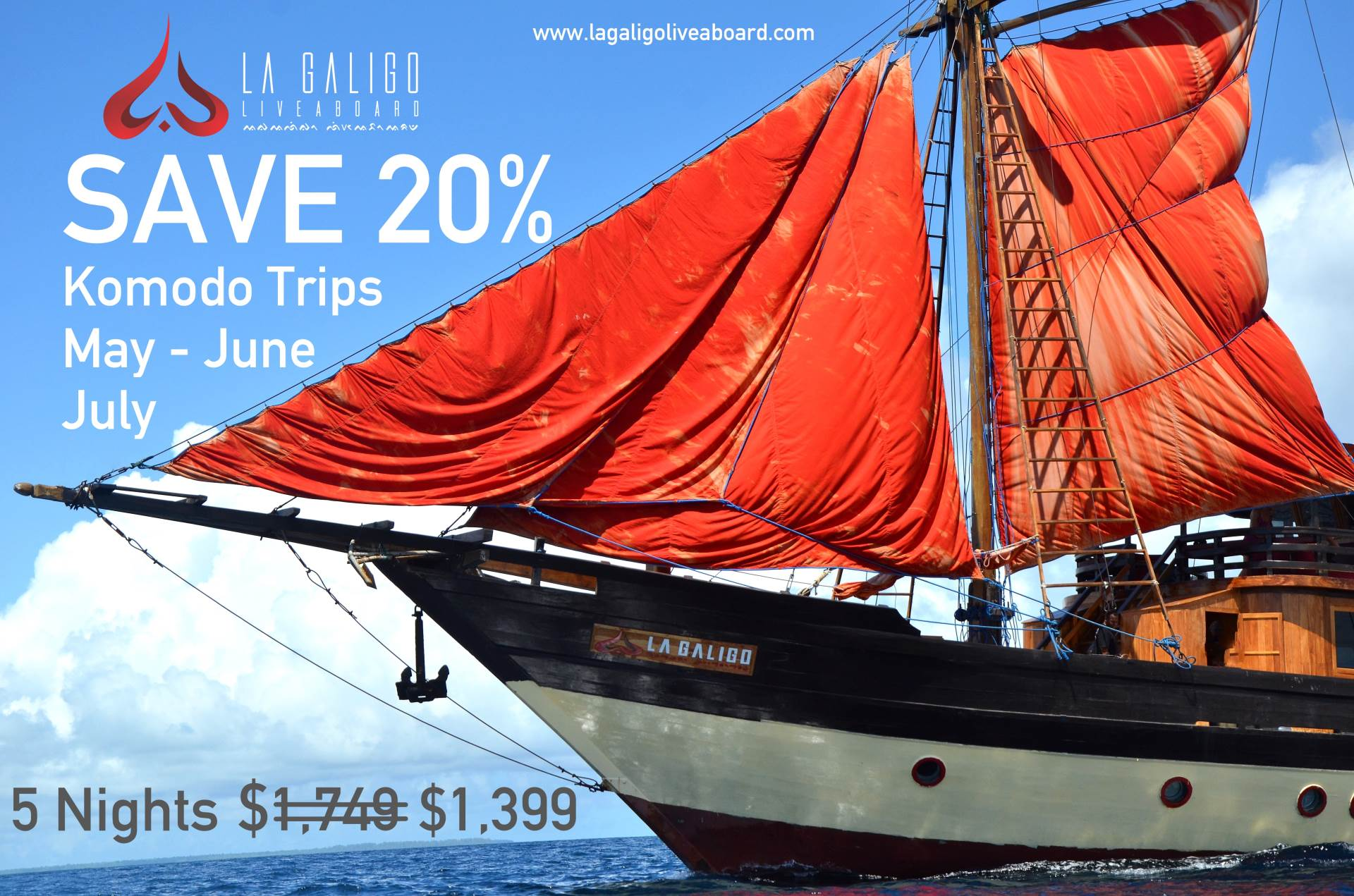 Komodo season has arrived! La Galigo is offering 20% off May - June - July liveaboard trips to celebrate.  Act quickly! This deal will sell out soon.   www.lagaligoliveaboard.com