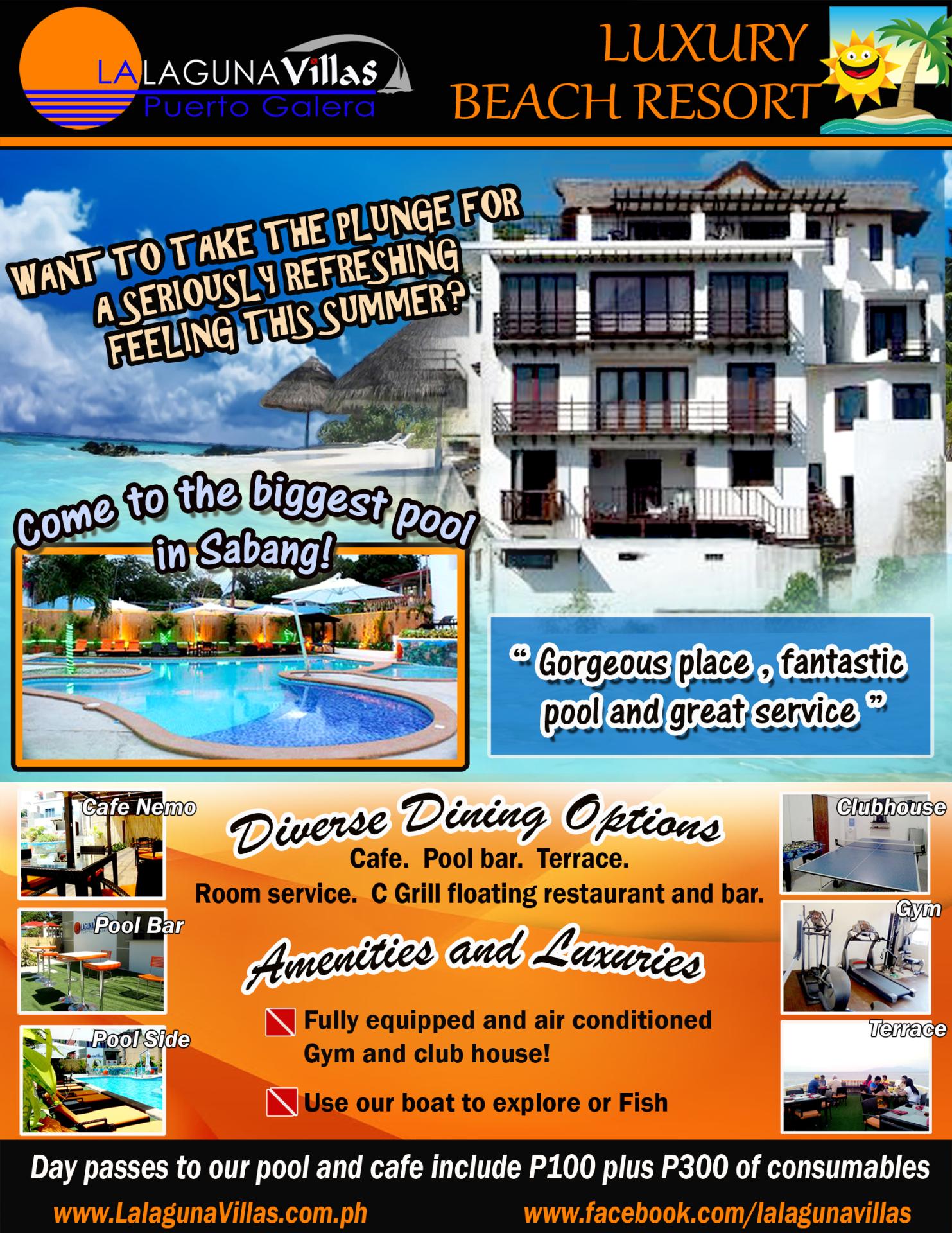 Small Lalaguna Beach, Sabang, Puerto Galera, Mindoro, PHL 5203 info@lalagunavillas.com.ph +63 43 287 3696 Text +63 917 446 5722