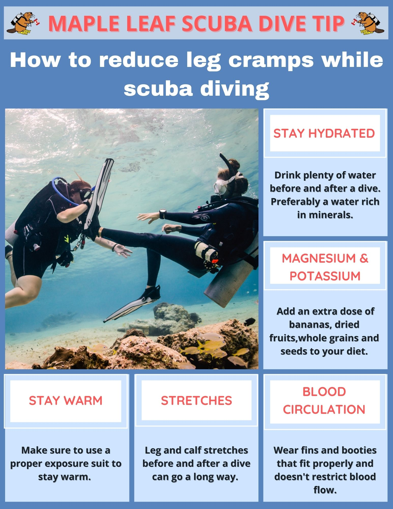 As you learned during your PADI Open Water Course, cramp removal for you and your buddy can be an easy fix. However, because prevention is key, here are a few tips.   www.mapleleafscuba.com