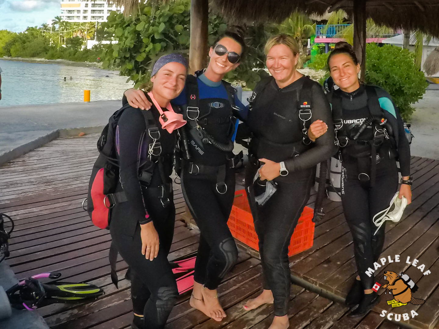 Maple Leaf scuba girls going for a fun sidemount dive