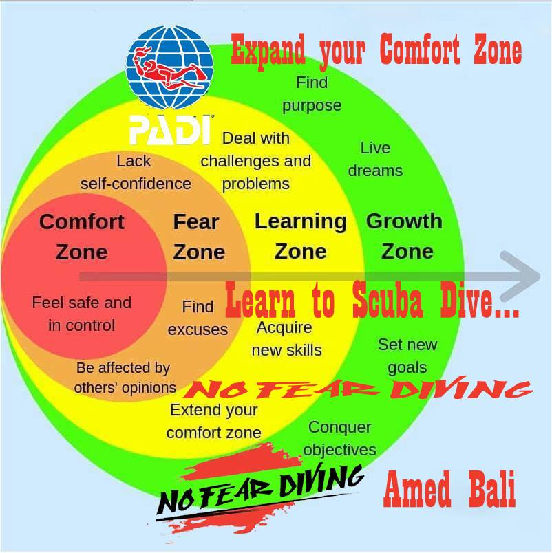 EXPAND YOUR CONFORT ZONE WITH US @ NO FEAR DIVING IN AMED BALI