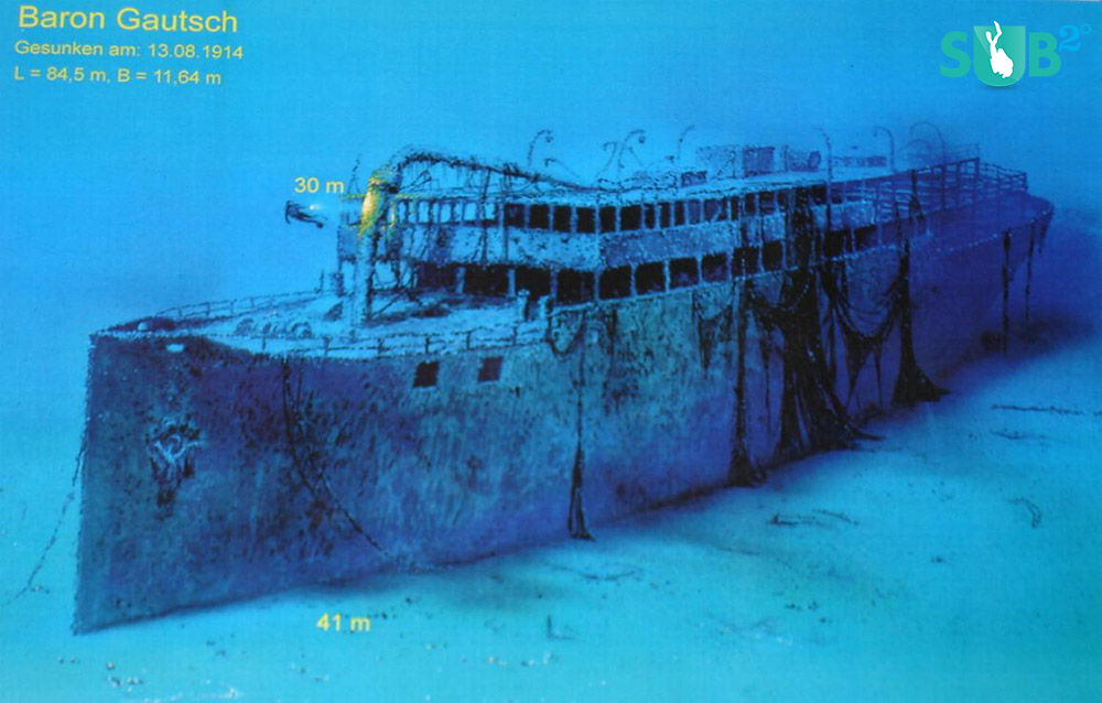 The ship sank in 1914 after being hit by an underwater mine.
