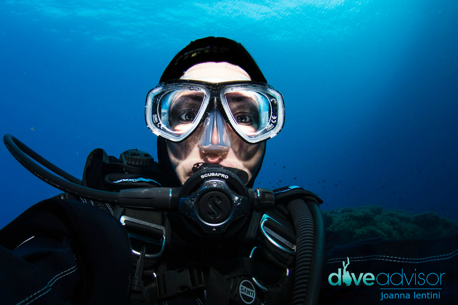 Testing out the TUSA Splendive IV Prescription Mask at the Blue Hole in Gozo, Malta.
