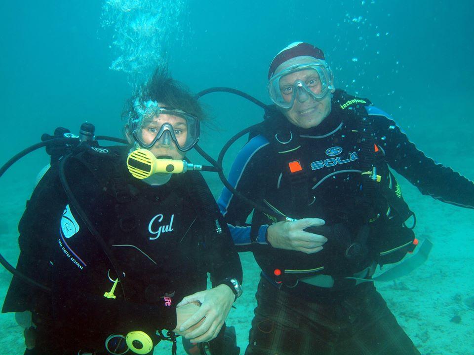 Vix and I diving off Tioman Island