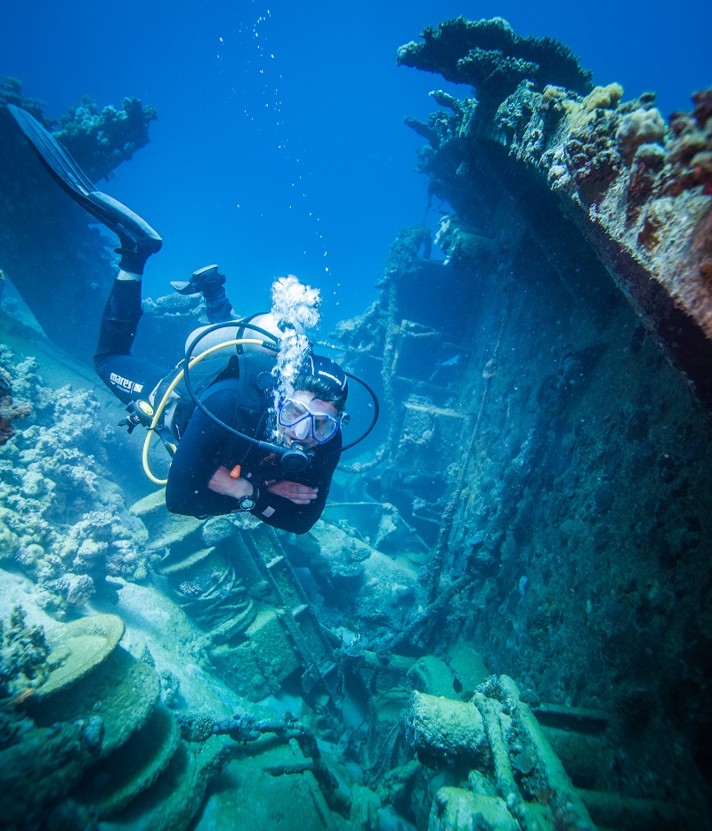 Enjoying a spot of Wreck diving at Abo Nawas