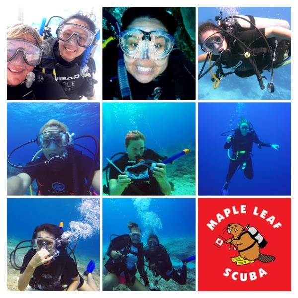 Women divers with Maple Leaf Scuba's dive shop in Cozumel, Mexico