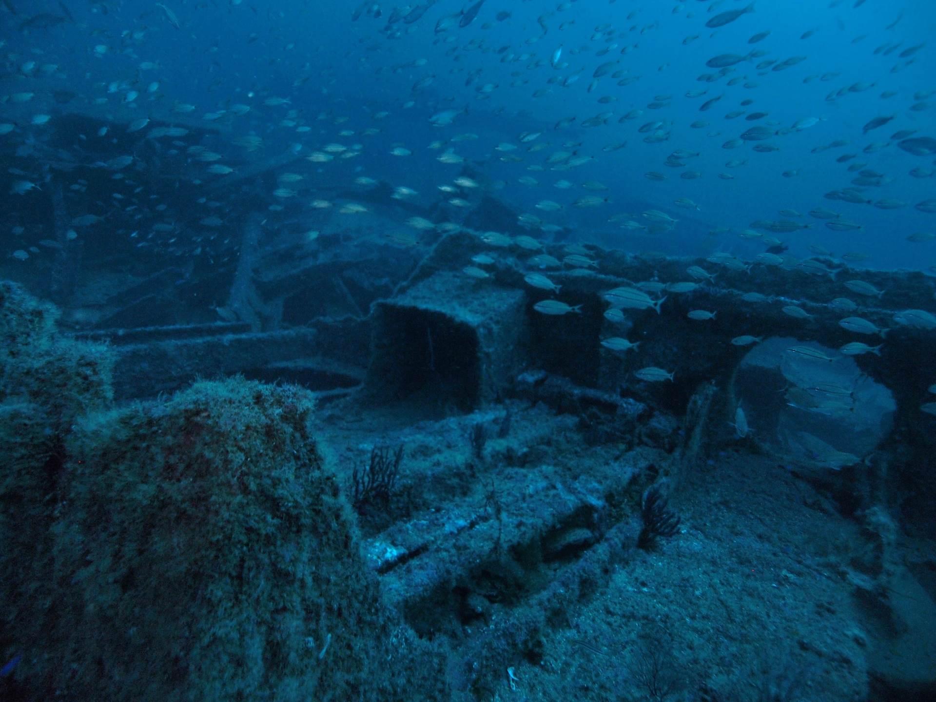 Wreck debris mid ships area of the Manuela, sunk WW2.